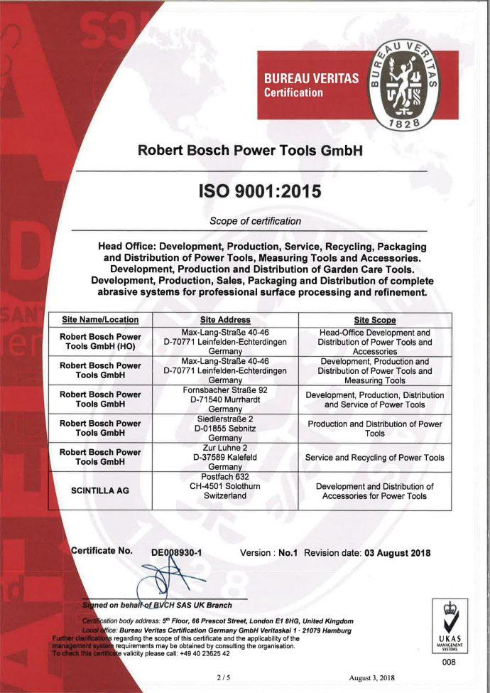 BOSCH Сертификат за качество